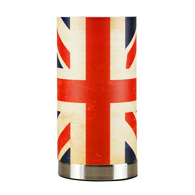 Contemporary Brushed Chrome Vintage Style Union Jack Touch Bedside Table Lamp