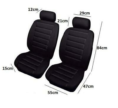Hard Wearing Leather Look Front Pair Of Black Car Seat Covers Protectors