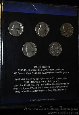 1938-1942 First 5 Years of Jefferson Nickels 1 Silver War Type 5 Coins Total.