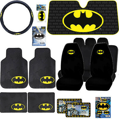 16pc New Batman DC Comic Rubber Mat Seat Covers Sun Shade License Steering +More