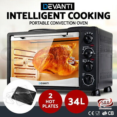 DEVANTI Convection Oven Electric 34L Bake Benchtop Hot Plate Rotisserie