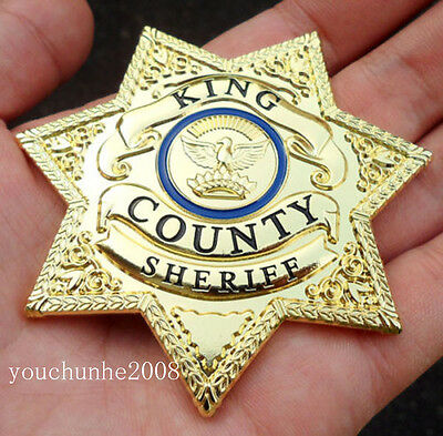 The Walking Dead King Country Sheriff Prop Metal Badge-34195