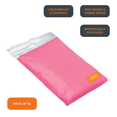 Kids Pink Disposable Waterproof Hooded Rain Poncho Mac Coat Theme Parks & Events