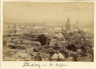 Germany, Mayence Cathedral from St. Stephen's  Vintage albumen print.  Ti