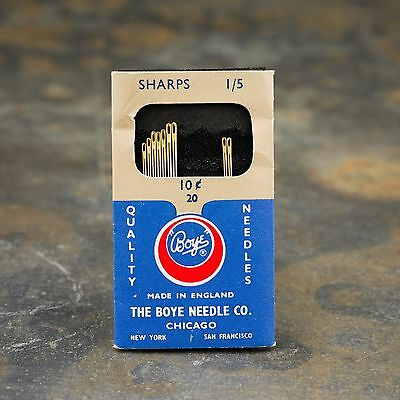 "vintage BOYE CHICAGO GOLD TOPPED NEEDLES made in England ""Sharps 1/5"" in package"