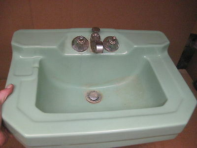 vintage antique CASE porcelain green sink 1949