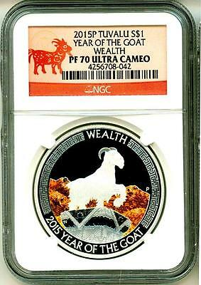 2015 S$1 Tuvalu Year Of The Goat Wealth NGC PF70 Ultra Cameo