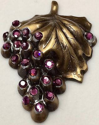 """Large Stamped Brass Vintage Style """"SiLVER LEAFED W/ AMETHYST RHIN"""" BUTTON~1 3/4"""""""