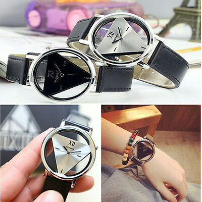 Hot Leather Band Triangle Hollow Out Sport Analog Quartz Women Mens Wrist Watch