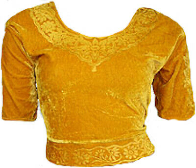 Gold Samt Top Choli für Bollywood Sari Gr. S bis 3XL