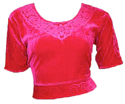 Pink Samt Top Choli für Bollywood Sari Gr. S bis 3XL