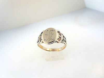10k Y/GOLD ENGRAVED SCRIPT INITIALS ANTIQUE ESTATE NOUVEAU SIGNET RING  SZ 11
