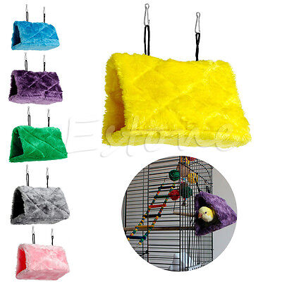 Plush Parrot Hammock Hanging Cave Cage Snuggle Soft Hut Tent Bed Bunk Bird Toy