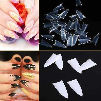 500PCS Clear Natural White Nail Tips False Point Stiletto French Acrylic UV Gel