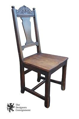 Stunning Renaissance Revival Carved Oak Desk Accent Chair Occasional Side Seat