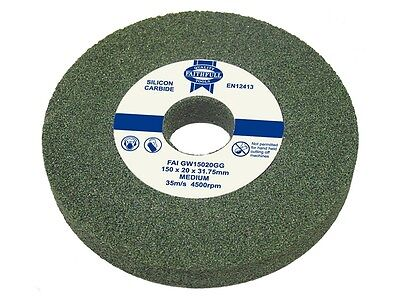 FAITHFULL GREEN GRIT SILLICON CARBIDE BENCH GRINDER GRINDING WHEELS - All Sizes.