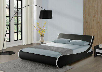 Designer Double Bed Frame or King Size Faux Leather Black White Memory Mattress