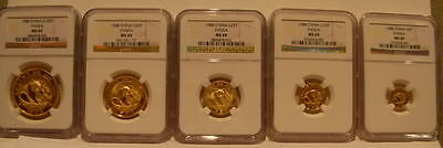 China 1988 Gold 5 Coin Full UNC Panda Set All Coins NGC MS-69