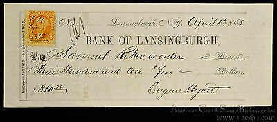 Obsolete Bank Check Bank of Lansingburgh New York NY 1865 w/ Tax Stamp.