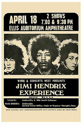 ROCK: Jimi Hendrix Experience at Memphis Concert Poster 1969  2nd Printing