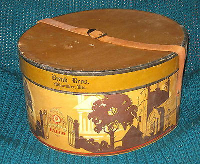 Vintage BRINK BROS Milwaukee HAT BOX w Form & LEATHER STRAP Men's ARCHITECTURAL