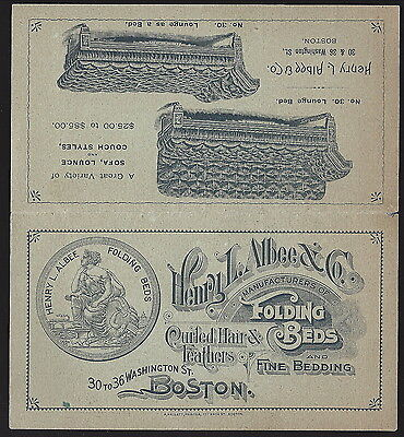Adv Flier, Albee & Co. Folding Beds, Lounge Beds (6 Models Shown) c1880s