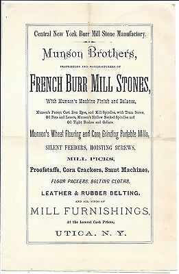 Well Illustrated Centennial Exhibitor's Circular, French Burr Mill Stones, 1876