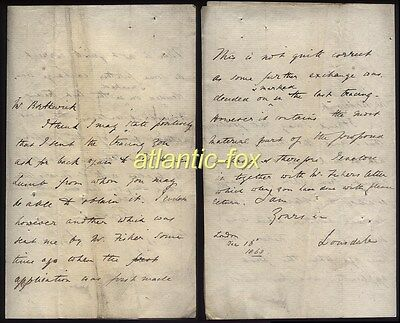 1863 LORD LONSDALE,  William Lowther Letter from London