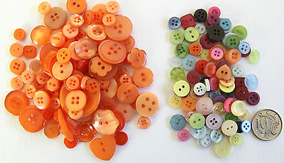 100 New BUTTONS ORANGE + 100 SMALL MIXED BUTTONS - Assorted Sizes & Shades