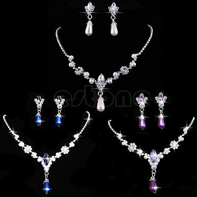 Wedding Bridal Bridesmaid Crystal Rhinestone Pearl Necklace Earrings Jewelry Set