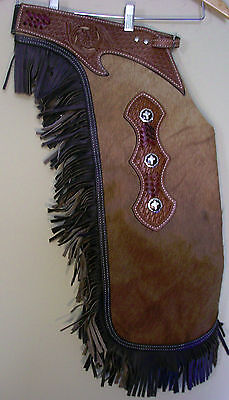 Western Real Hair On Leather Saddle Horse Large Chinks / Chaps  Rodeo Gymkhana