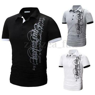 PODOM Men's Slim Fit Casual Shirt Short Sleeve Polo T-shirts Cotton Tee Tops