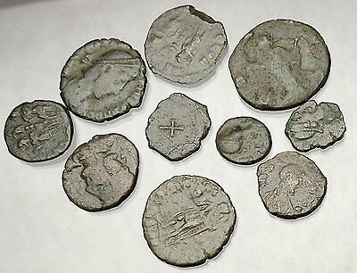 250-450AD Group Lot of 10 Authentic Ancient ROMAN Coins Collection KIT i51300