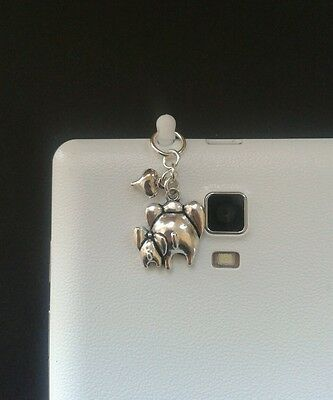Mum & Baby Elephant Dangle Charm For Mobile Phone. Tablet. Iphone. Dust Plug.