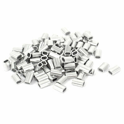 "1.5mm 1/16"" Steel Wire Rope Aluminum Ferrules Sleeves Silver Tone 100 Pcs"