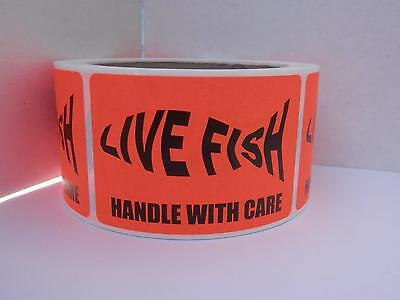 LIVE FISH silhouette HANDLE WITH CARE Sticker Label fluor red bkgd 250/rl