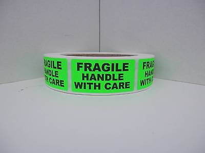FRAGILE HANDLE WITH CARE 1x2 Warning Stickers Labels fluorescent green 500/rl