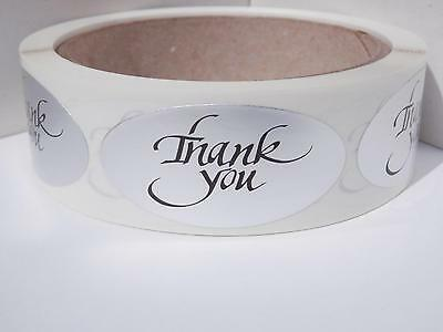 THANK YOU 1x2 oval  Stickers Labels dull silver foil bkgd 250/rl