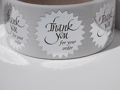 """Thank You For Your Order Sticker Label 1.5"""" Starburst bright silver bkgd 500/rl"""