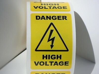 DANGER HIGH VOLTAGE 2x3  yellow/black Warning Stickers Labels 125/rl