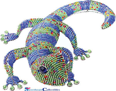 Beadworx Grass Root Hand-Crafted Beaded Large Geckos Tropical Blue