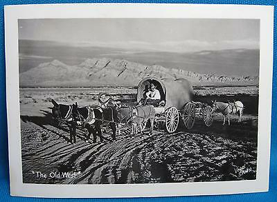 Old West Covered Wagon Western Photograph Glossy Photo Signed Vegas Studio 1940s