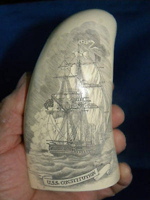 "Scrimshaw Reproduction Sperm Whale Tooth "" Old Ironsides"" 7 "" Uss Constitution"