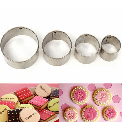 4x Round Circle Stainless Steel Cookie Fondant Cake Cutter Decorating Mold Tool