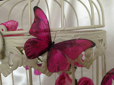 10 Sparkling Dark Pink Butterflies Wedding Decorations Table Candle Accessories