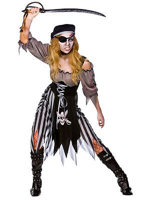Ladies Zombie Pirate Costume Cutthroat Ghost Halloween Fancy Dress Adult Outfit