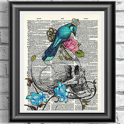 SKULL BLUE BIRD CROWN TATTOO print on antique dictionary book page PICTURE