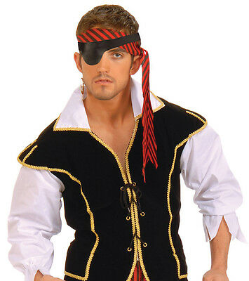 Pirate eye patch black buccaneer fancy dress party plastic themed new free p/&p