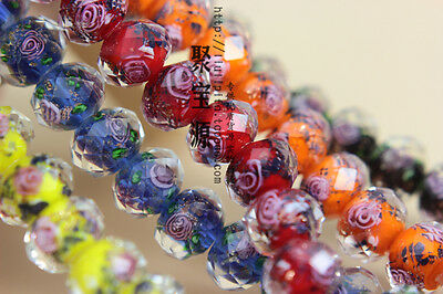 10PCS Faceted Lampwork Glass Charms Rose Flower Finding Loose Beads 10MM 12MM