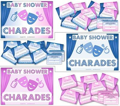 Baby Shower Party Games  -  BABY SHOWER CHARADES  -  Boy/ Girl / Unisex